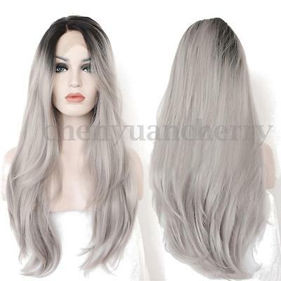 80CM Heat Resistant Lace Front Wig Synthetic Ombre Full Long Grey Hair Wigs