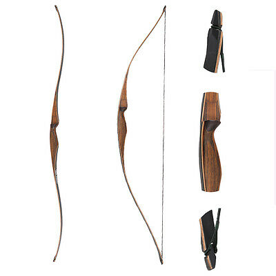 """52"""" Archery Longbow wooden bow 20-35lbs for Novice Youth Women Target  Practice"""