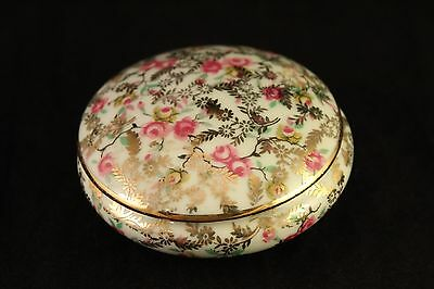 Pink Rose Flowers Limoges France Porcelain Lidded Powder / Trinket Box