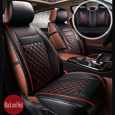 Luxury Breathable PU Leather Car Seat Covers Cushion Full Seat Cover Black Red