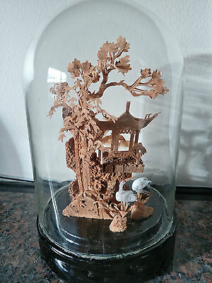 Cork Picture in Glass Dome with cranes
