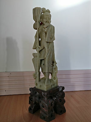 "10"" Chinese Hand Carved Soap Stone fisherman"