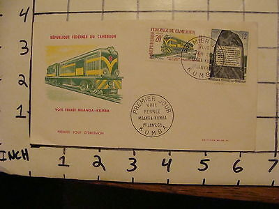 Vintage Envelope  first day issue KUMBA jan. 1, 1965 w TRAIN