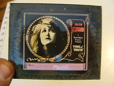 Silent MOVIE GLASS LANTERN SLIDE: Ruth Clifford in FIRES OF YOUTH, rubert julian