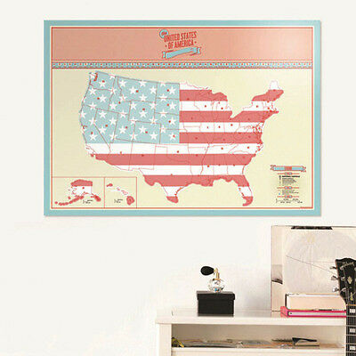 USA Scratch Map Packed in Card Tube Scratch off Map Vacation Traveler  Gift Top