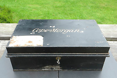 Vintage Metal Deed / Safe / Document Box / Tin & Key The Two Brothers Hands Logo