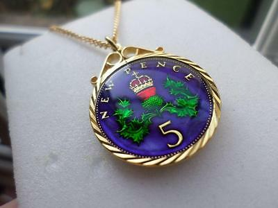 Vintage Enamelled Five Pence Coin 1975 Pendant & Necklace. Great Birthday Gift