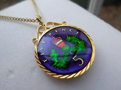 Vintage Enamelled Five Pence Coin 1988 Pendant & Necklace. Great Birthday Gift