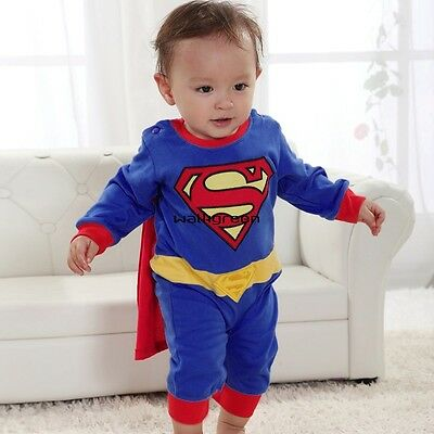 superman Suit Fancy Dress SuperHero Costume for Baby Toddler Kid Boy Romper WN