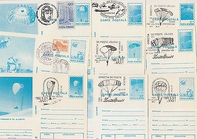 Aviation Parachutes Romania 9 cards with special postmarks