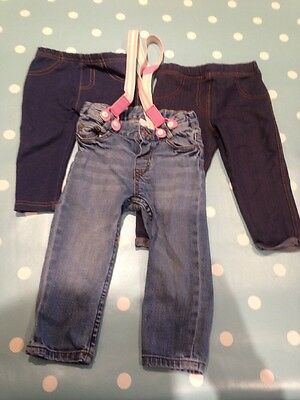 9-12 Months Baby Girls Bundle. 2x Jeggings, 1 Pair Jeans With Braces