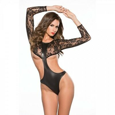 Kitten Lace and Wet Look Full Sleeve Teddy 4-Way Stretch