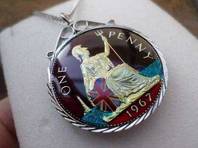 Vintage Enamelled One Penny Coin 1967 Pendant & Necklace. 50Th Birthday Gift