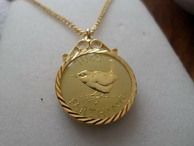 Vintage Enamelled Farthing Coin 1942 Pendant & Necklace. Great Birthday Gift