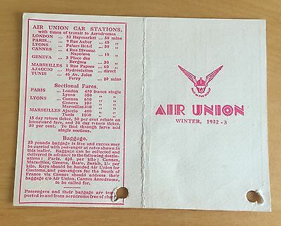 Original Winter 1932-3  AIR UNION France Time table Card