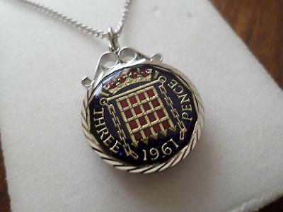 Vintage Enamelled Threepence Coin 1961 Pendant & Necklace. Great Birthday Gift