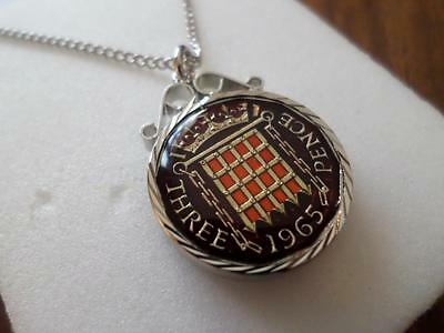 Vintage Enamelled Threepence Coin 1965 Pendant & Necklace. Great Birthday Gift