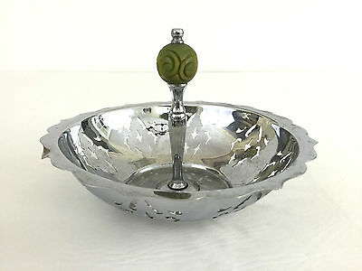vintage chrome candy dish with handle 1960's 1970's