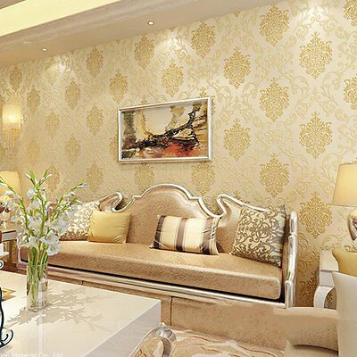 10M Rolls Victorian Texture Embossed Damask Cream Luxury Glitter Wallpaper Gold