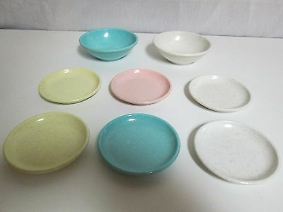 "Vintage Lot IMPERIAL WARE MELMAC 3.5"" MINIATURE Speckled Pastel KIDS DISHES"