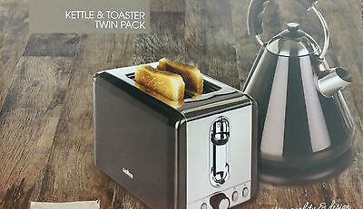 Twin Pack Stainless Steel Kettle & 2 slice Toaster in Red,Black,Cream