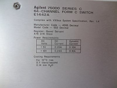 Agilent/HP E1442A 64-Channel Form-C VXI Card. USED
