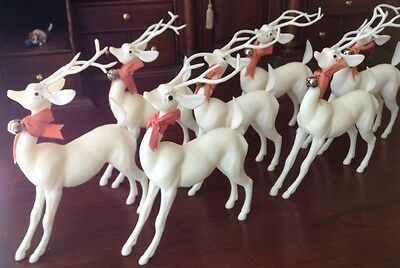 Vintage Miniature Reindeer (7) With Bow And Bell - SOLID First Gen. Plastic