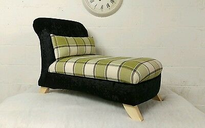 Small Chaise Gaming Chair in Black Crushed Velvet and Green Tartan
