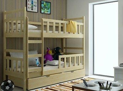 Bunk Beds For Children Beds With Mattresses Wooden Solid Pine 3ft Right Ladder