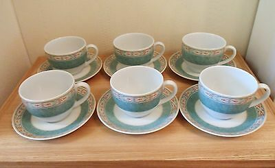 WEDGWOOD AZTEC CUPS & SAUCERS x 6