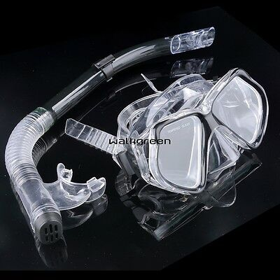 Dive Diving Mask Goggles Dry Snorkel Set Swimming Scuba Snorkeling Gear WN