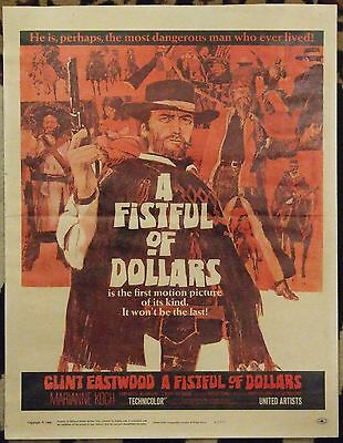 A FISTFUL OF DOLLARS, ORIGINAL MINI POSTER on THICK PAPER, 1966. Clint Eastwood