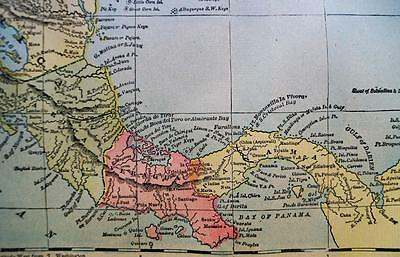 Mexico & Central America Map 1894 George F. Cram Atlas Page Vintage