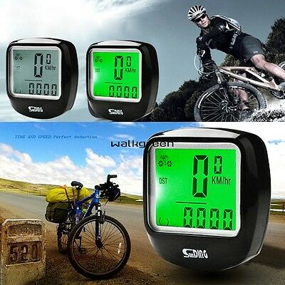 New LED Cycling Bike Bicycle Computer Waterproof Odometer Speedometer WN
