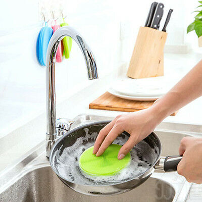 Silicone Kitchen Cooking Cleaner Tool Pot Bowl Dish Washing Cleaning Brush