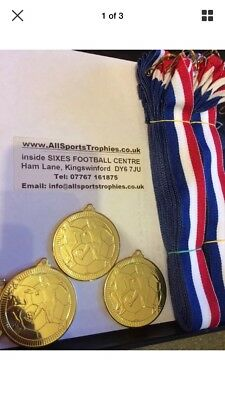 100 x Metal Football Medals & Ribbons. Gold, Silver Or Bronze FREE ENGRAVING