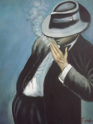 man smoking large oil painting canvas ganster blue black contemporary original