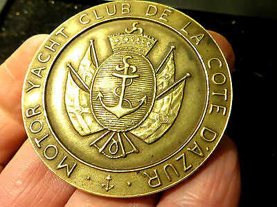 "France: Scarce medal ""YACHT CLUB COTE D'AZUR, CANNES"" 1953 - 50 mm , 61 grs"