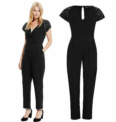New Ex M&S black studded sleeve v neck jumpsuit size 6-22 petite regular tall
