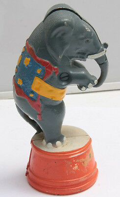 "Standing White Elephant Circus Act Blue Orange Cast Iron ~5"" Tall - USED C18K"