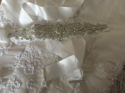 Ivory Ribbon Crystal Beaded Belt Sash Wedding Accessories