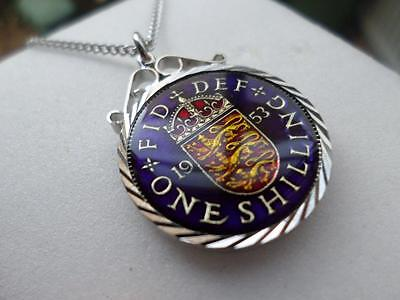 Vintage Enamelled One Shilling Coin 1953 Pendant & Necklace. Birth Year Gift