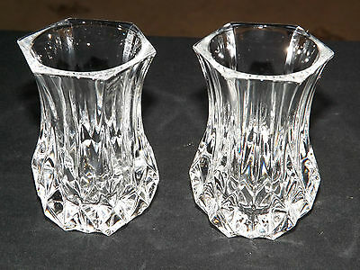 Pair of Lovely Cristal d'Arques Posey / Bud Vases, Longchamp Pattern. Excellent