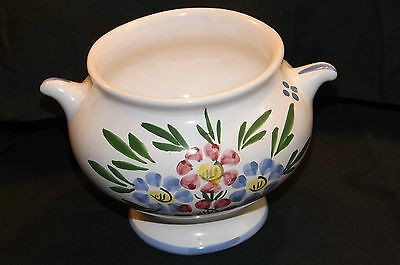 Eared Hand Painted China Sugar Bowl or Dish Studio initalled LR