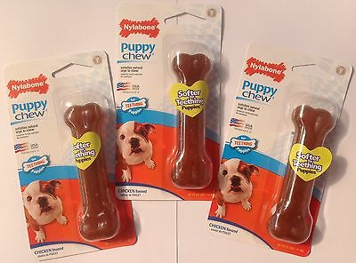 3 x Lot Nylabone Puppy Chews ~ Chicken Flavour ~ Up to 25lbs/11kg New & Sealed