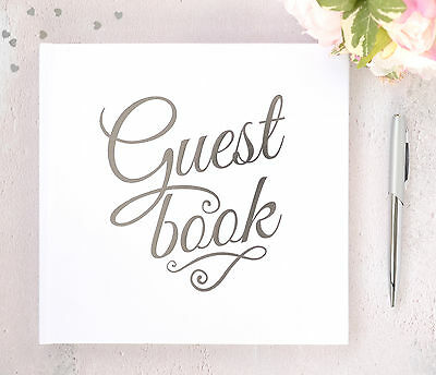 Personalised Wedding Guest Book & Box. White Guest Book with Silver Printed Text