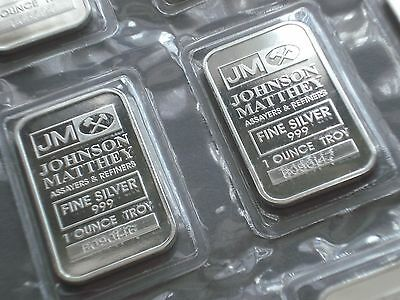 Genuine 1 oz 999 Silver Bars Silver Johnson Matthey with Serial number