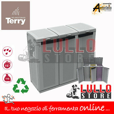 Pattumiera Per Raccolta Differenziata Multipla 3 Posti/ante Armadio Resina Terry