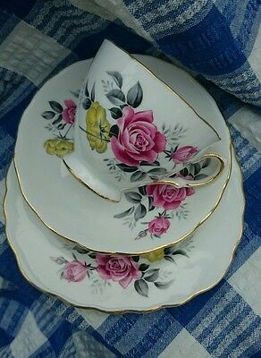 Lovely Vintage Royal Vale China Trio Tea Cup Saucer Plate Pink Yellow Roses 7515