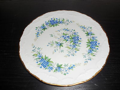 """Vintage Beautiful Limoges Dish Plate 10.5"""" round Blue/Green Gold Rim"""